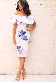 5fa1a451f0b6 Frill Off The Shoulder Bardot Pencil Dress with Floral Print in White with  Purple - One Nation Clothing - One Nation Clothing - 1