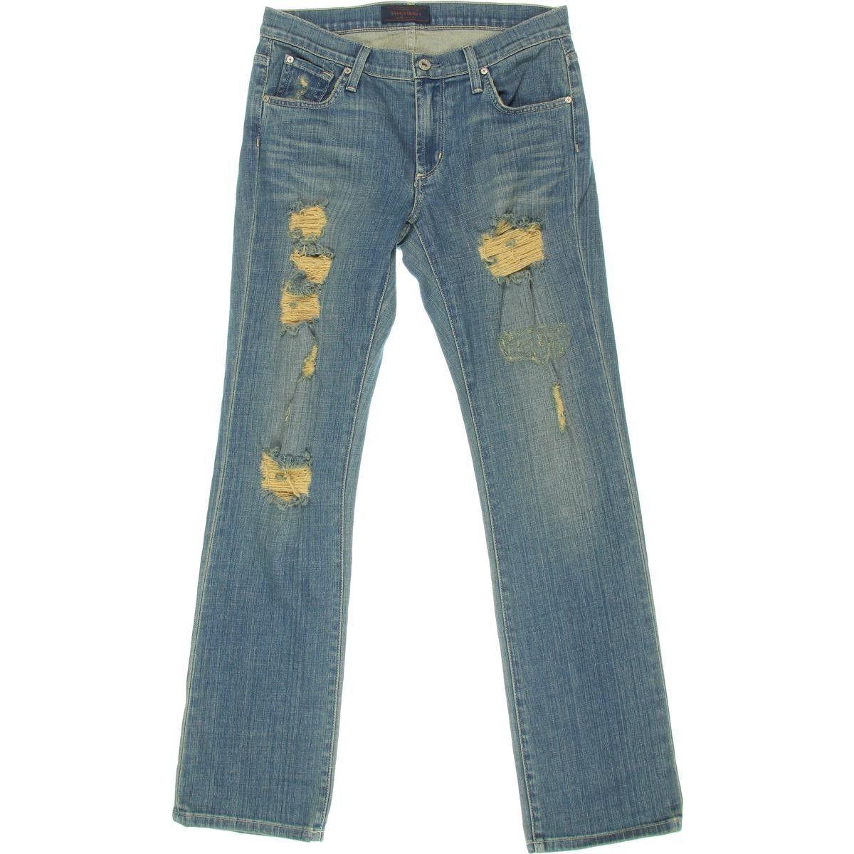 James Jeans Womens Buddy Festival Wash Destroyed Boyfriend Jeans