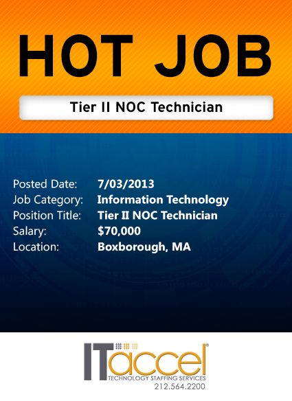 Hot Job Tuesday Tier Ii Noc Technician With Images Network