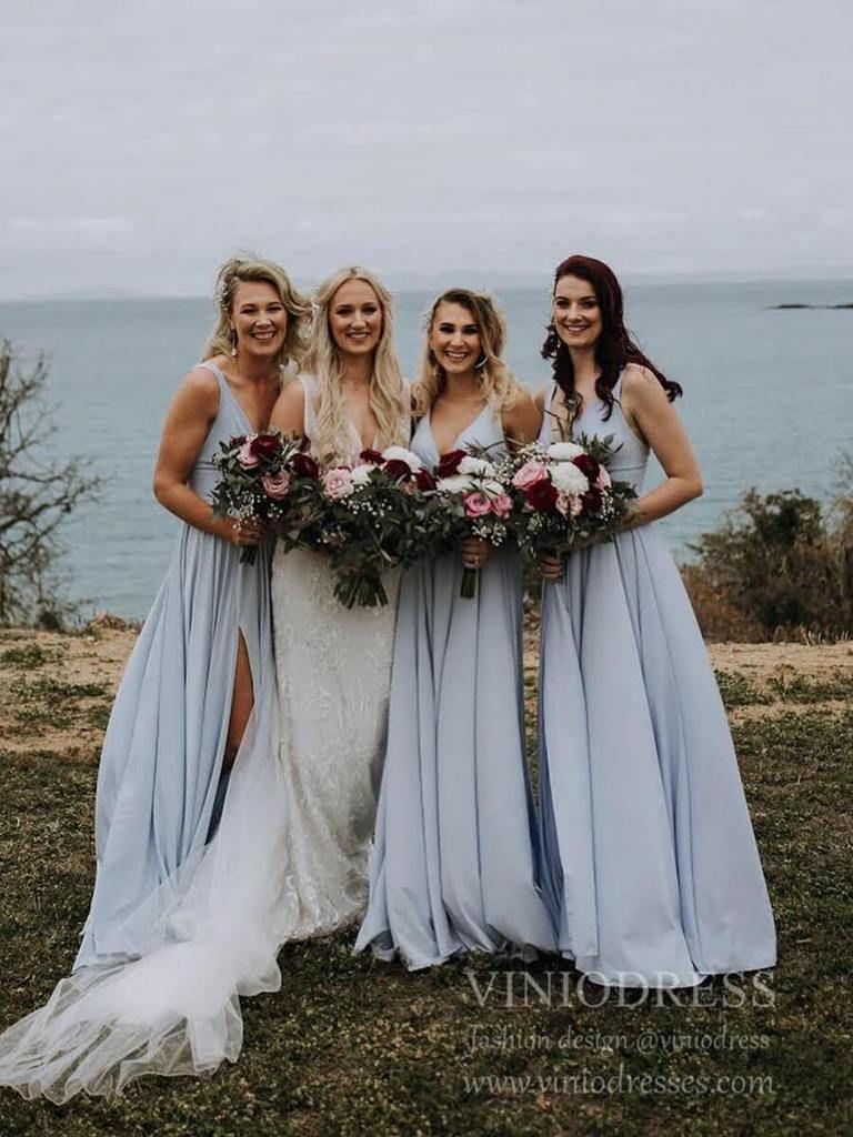 Rustic Wedding Light Blue Long Bridesmaid Dresses with Slit VB1027B