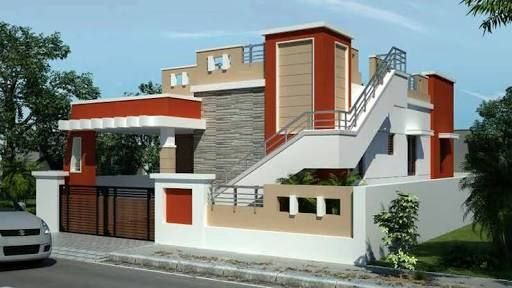 Outside Staircase Designs India   Staircase Outside House Design   Bungalow   40X30 House   Duplex   Landscape   Exterior