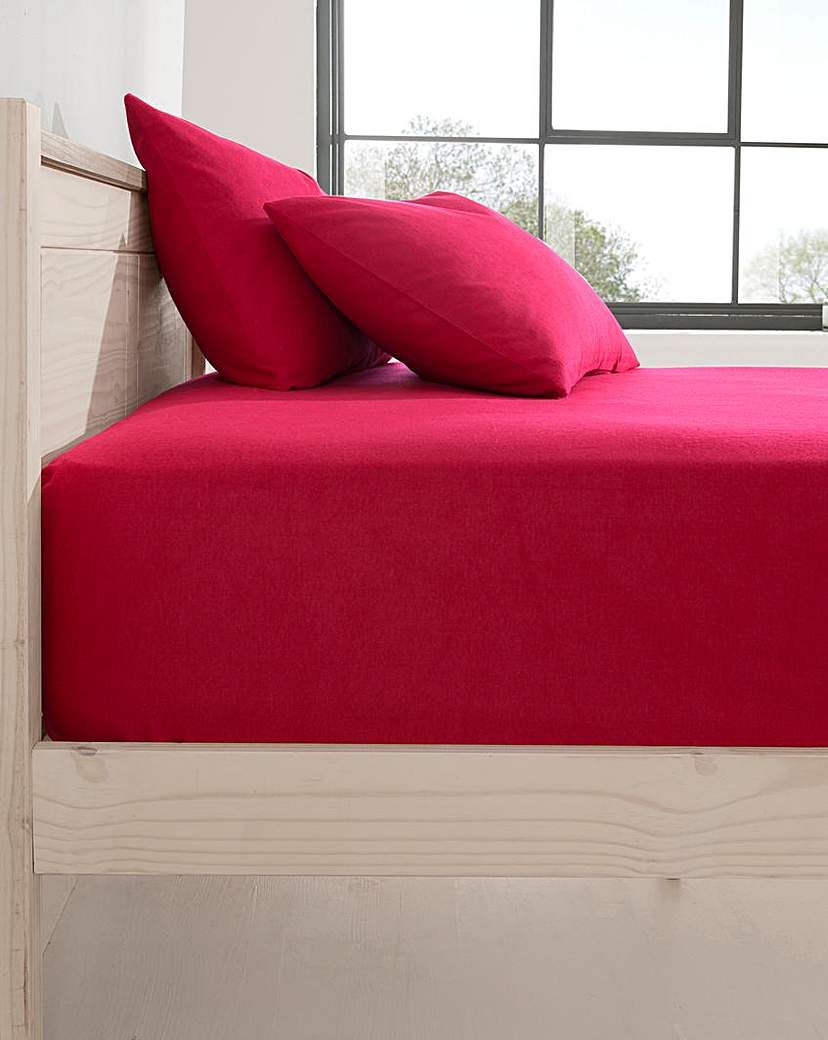 Jd Williams Extra Deep Brushed Cotton Fitted Sheet Red In 2021 Chaise Lounge Furniture Home Decor