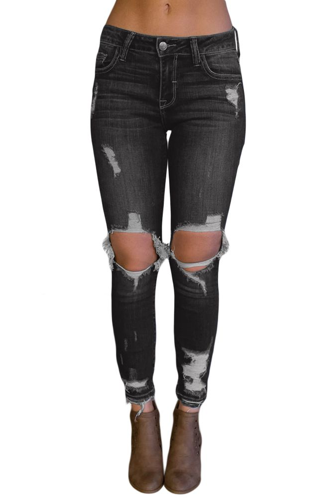 Photo of Black Destroyed Skinny Jeans