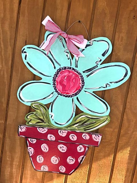 Summer door hanger // spring door hanger // whimsical art // flowers ...