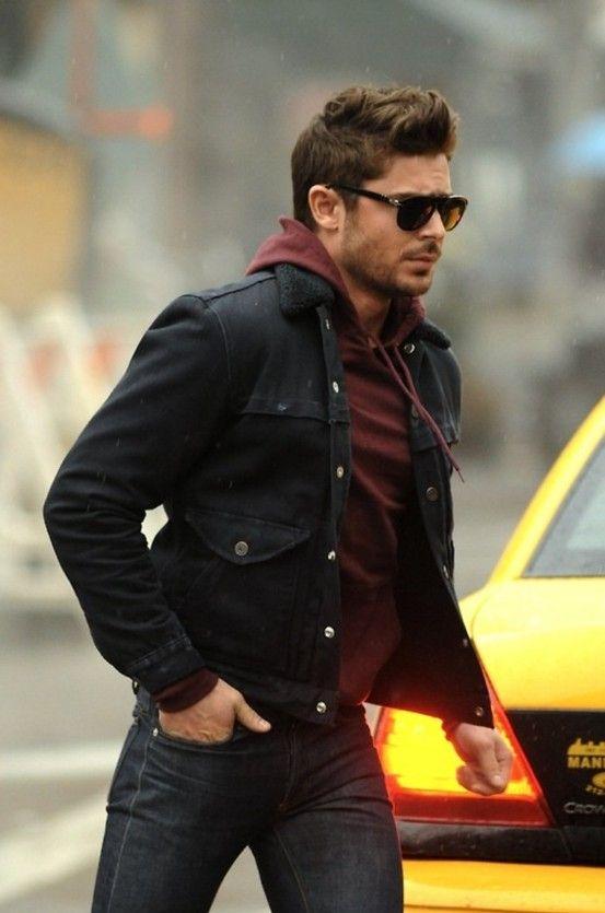 Comfy Fall Winter Street Style Hoodie Under Jacket Dark Jeans Mens Outfits Stylish Men Burgundy Hoodie