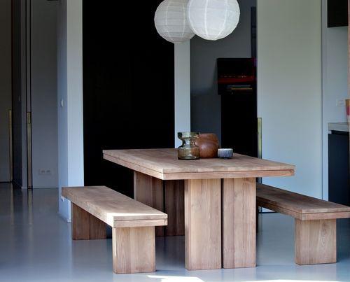 color de la fustaMesa del comedor moderna de madera maciza TECK