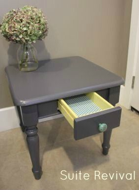 I like the color. Maybe repaint my existing end table. Gray end table with a pop of yellow.