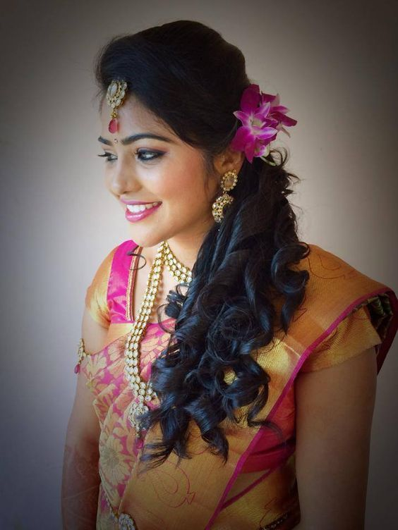Hairstyle for round face in lehenga