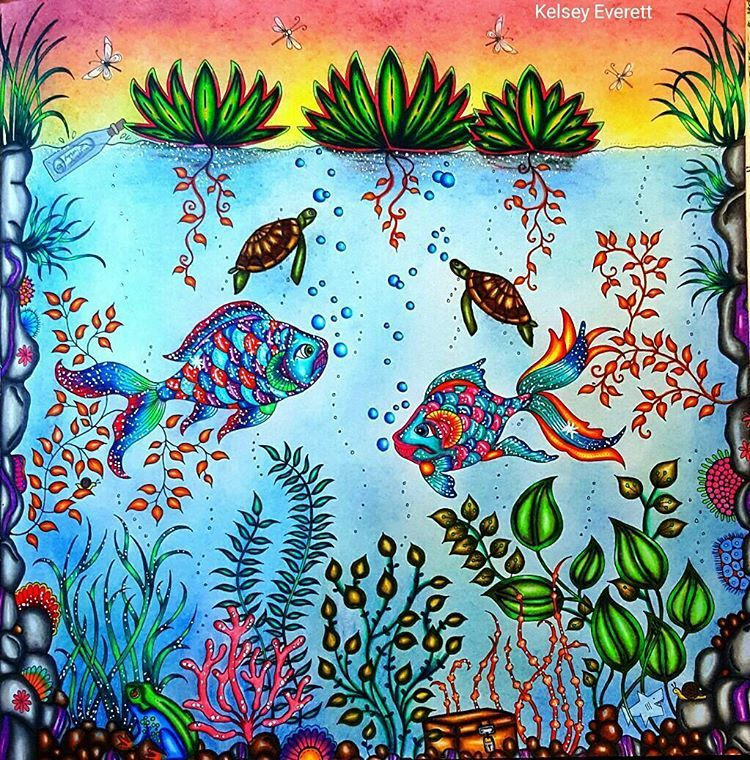 Johanna Basford's Pond from the Secret Garden coloring