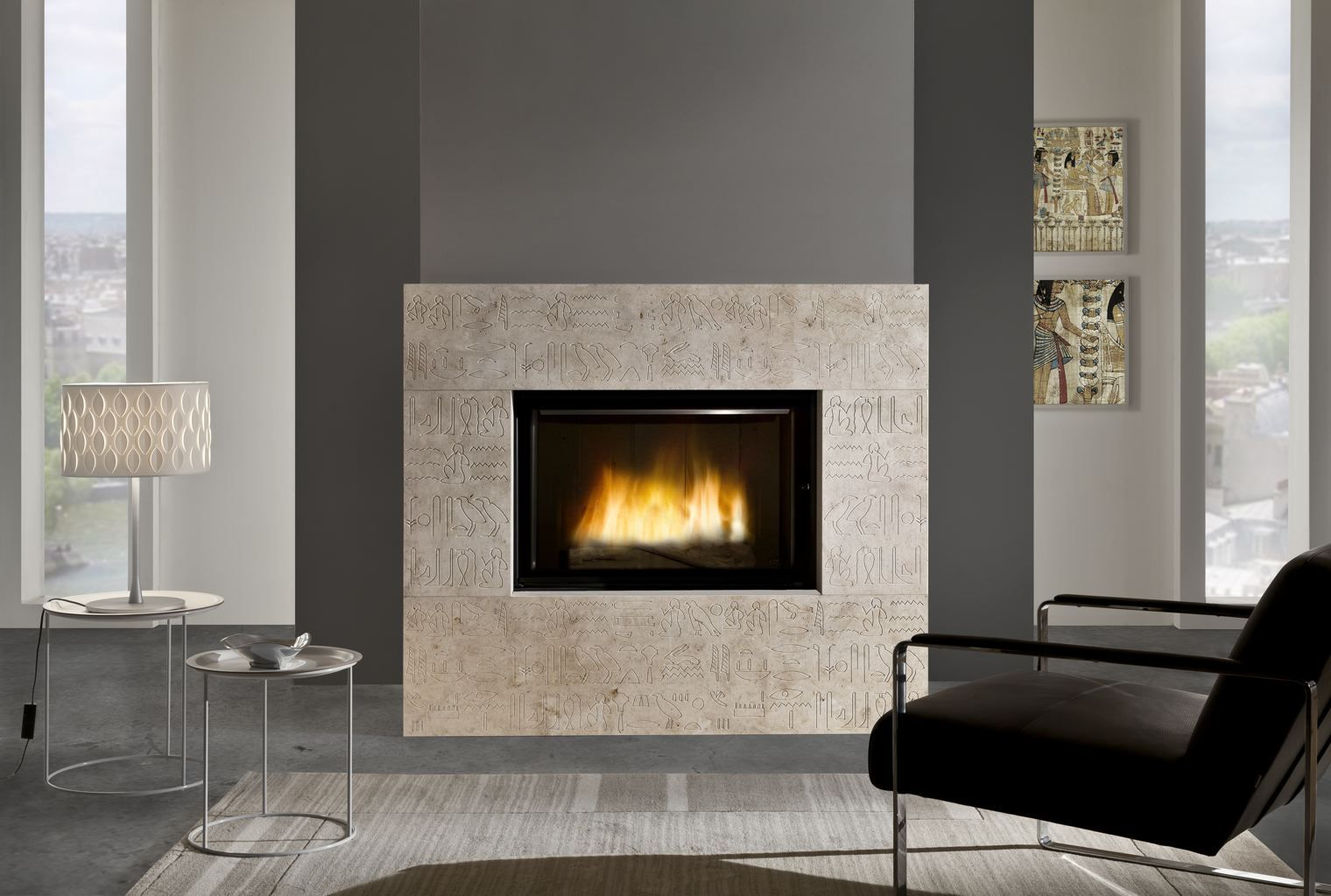 D1350 Fireplace With Dual Opening Door System Cheminées