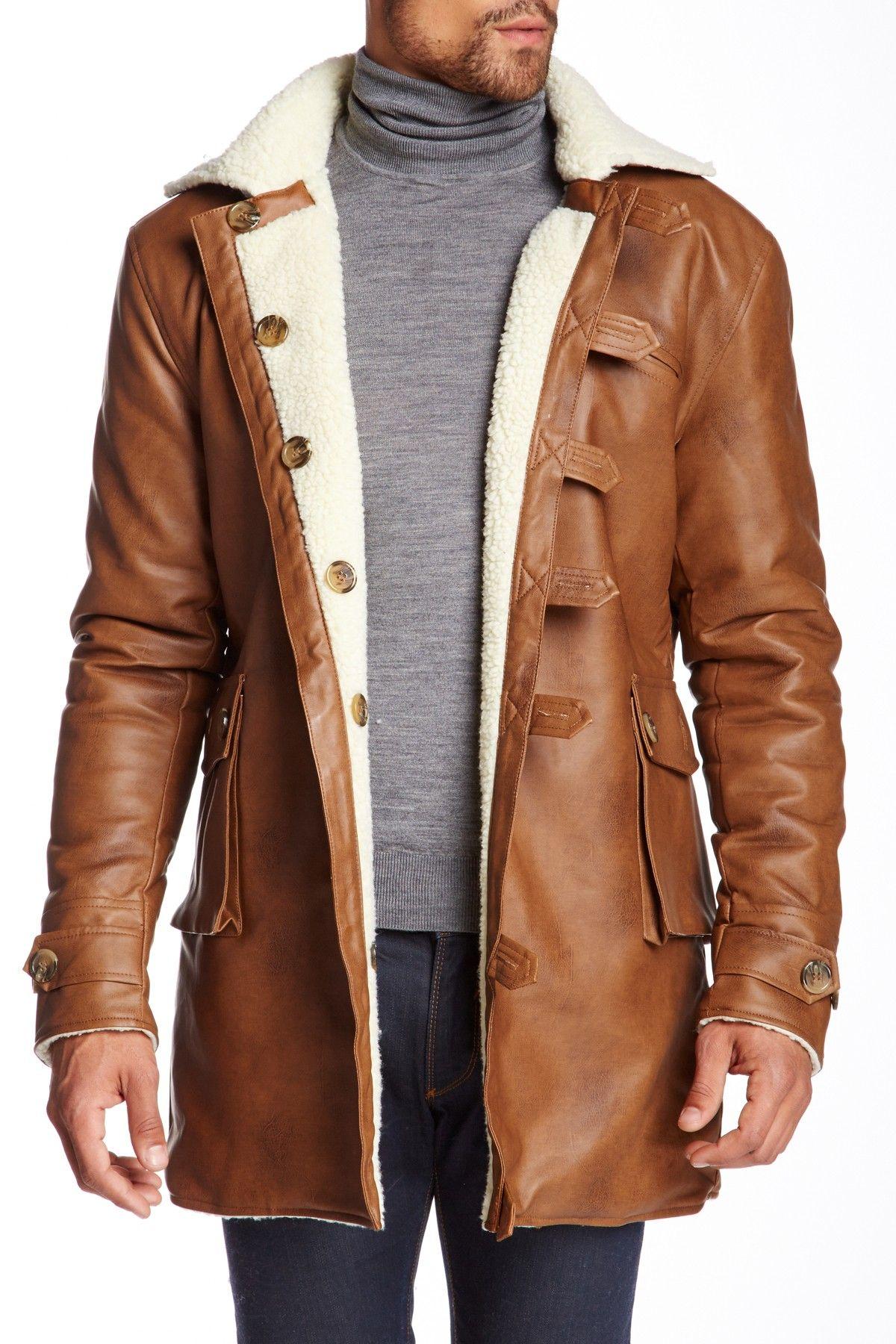 Seduka Faux Fur Lined Faux Leather Coat Faux leather