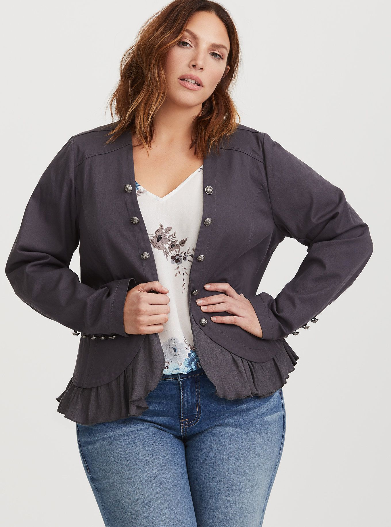 93f94b00d38 Grey Peplum Twill Military Jacket