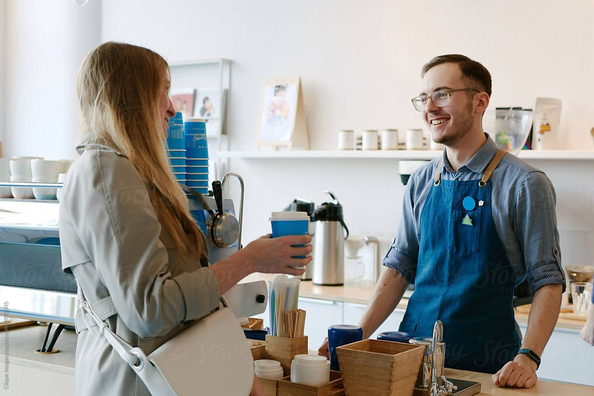 Friendly talk of barista and customer by clique images for