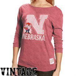 Original Retro Brand Nebraska Cornhuskers Ladies 3/4 Sleeve Scoop Neck Vintage Premium T-shirt - Red