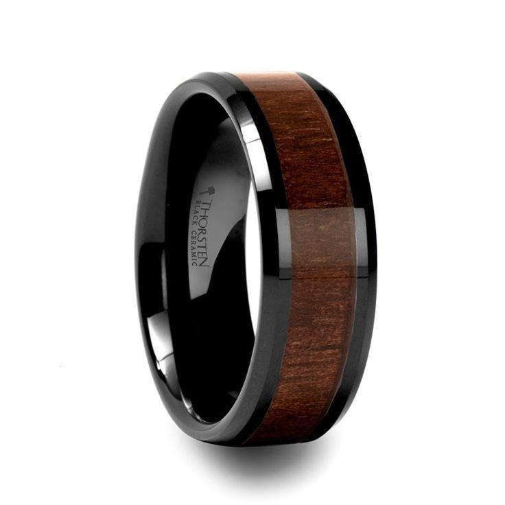 Men S Wedding Bands With Wood Inlay Mens Milosz Beveled Black Ceramic Ring