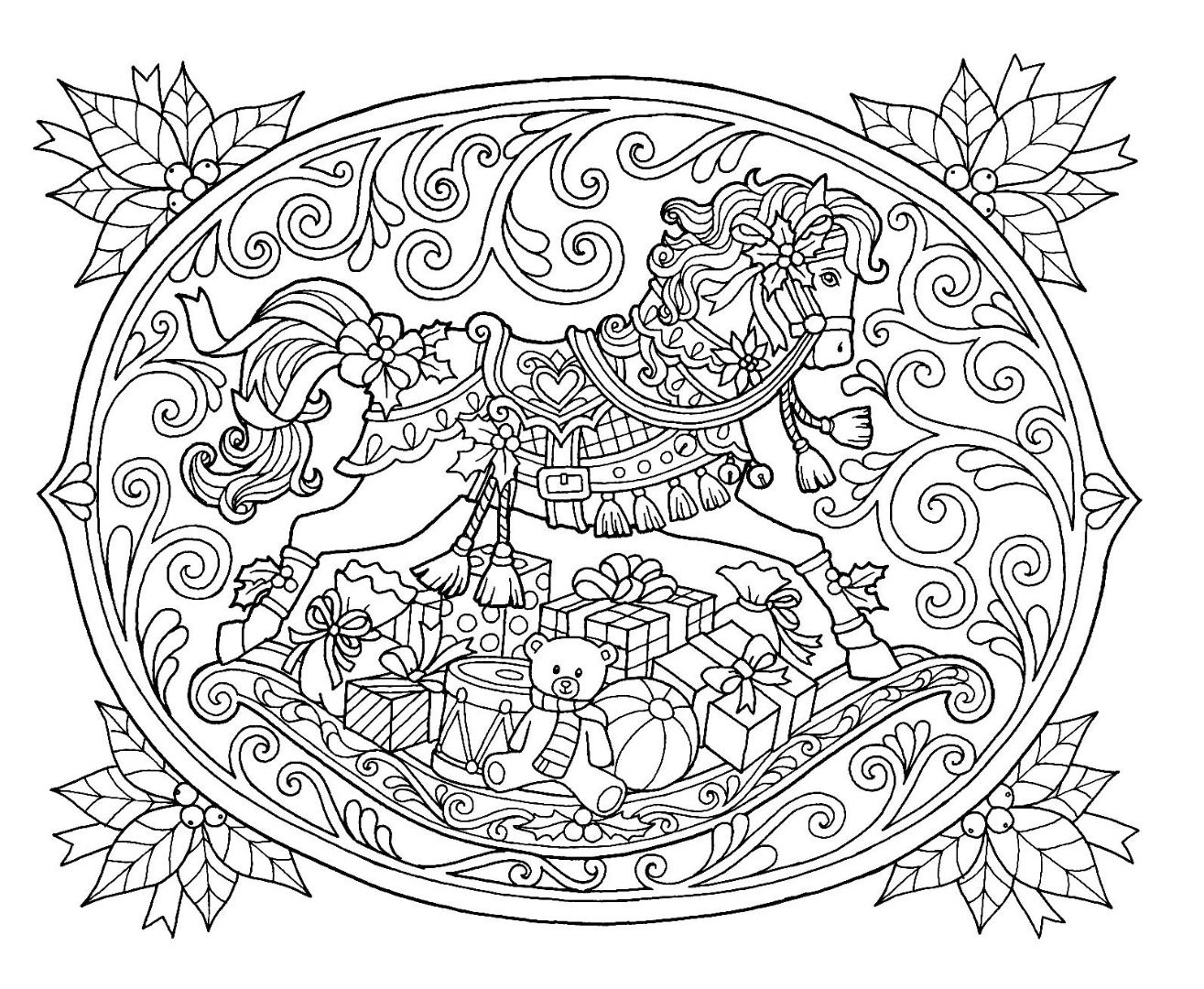 Christmas Rocking Horse Coloring Page | Horse coloring ...