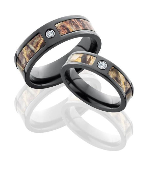 His and Her Black Zirconium Realtree Ring Set Camo wedding Camo