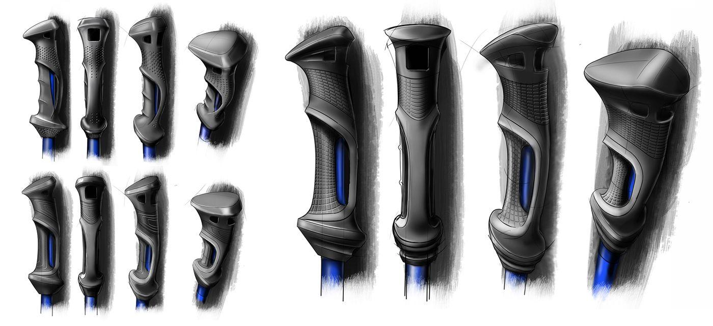 Ski Poles Handle On Behance Ski Poles Industrial Design Sketch Tool Design