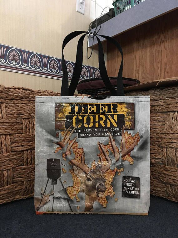 Recycled Repurposed Deer Corn Feed Bag Grocery Reusable Market Tote Zero Waste