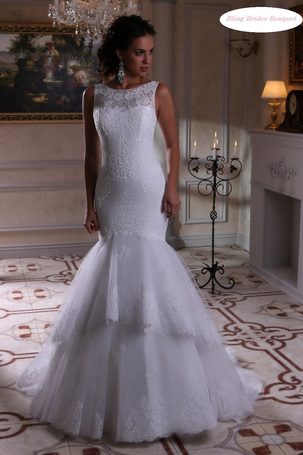 Tiered mermaid wedding dresses at bling brides bouquet online bridal