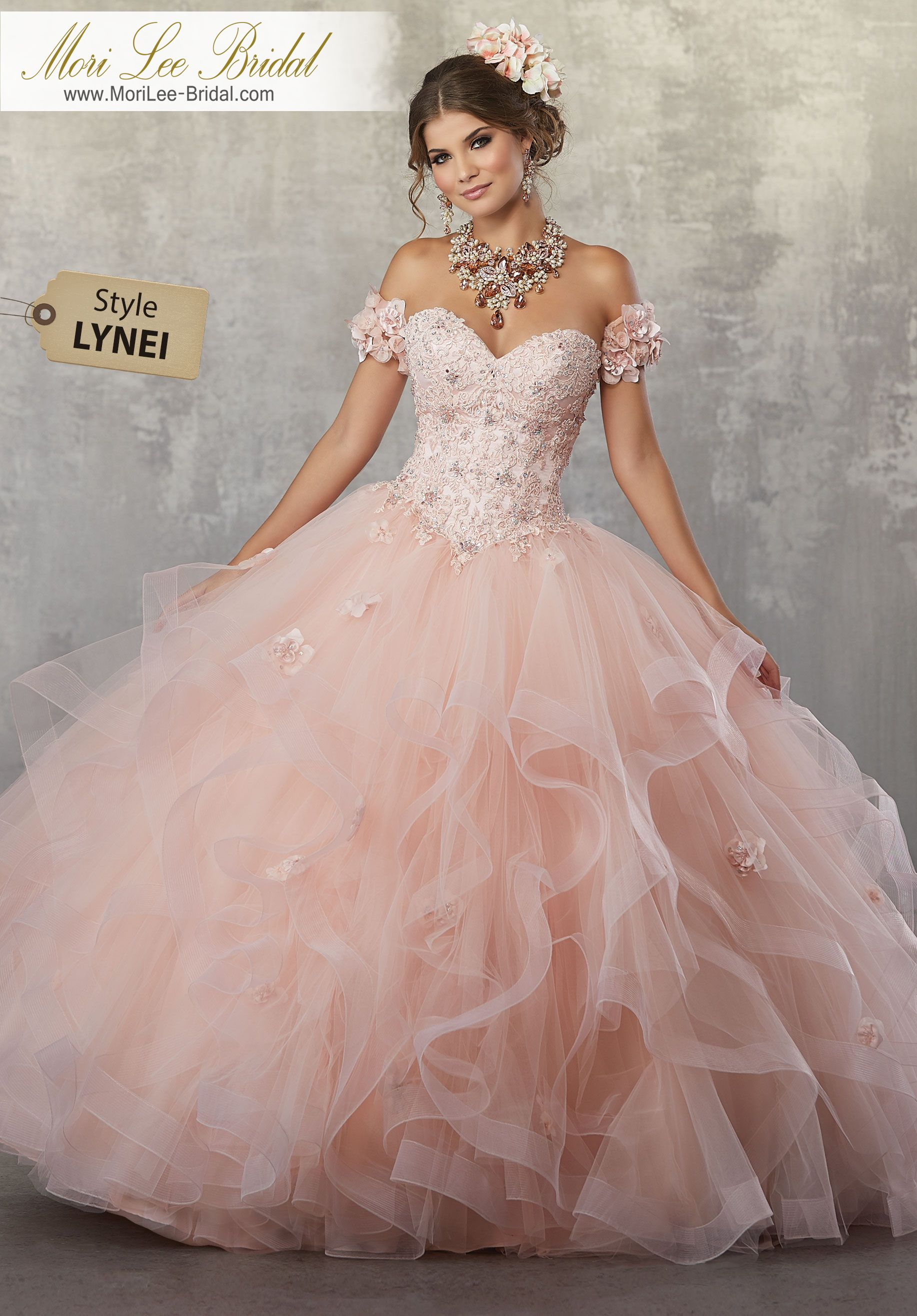 Style LYNEI Crystal Beaded, Lace Appliqués and Three-Dimensional ...