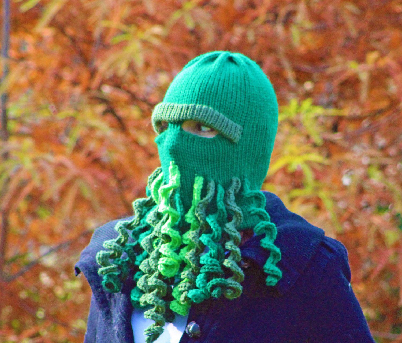 Cthulhu Ski Mask Warm Hat Green Beanie Knit Handmade Gift for Him by ...
