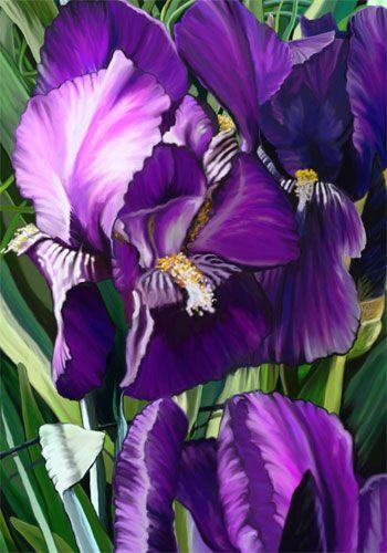 SnapDragon Flag - Purple Irises Decorative Flag at Garden House Flags at GardenHouseFlags