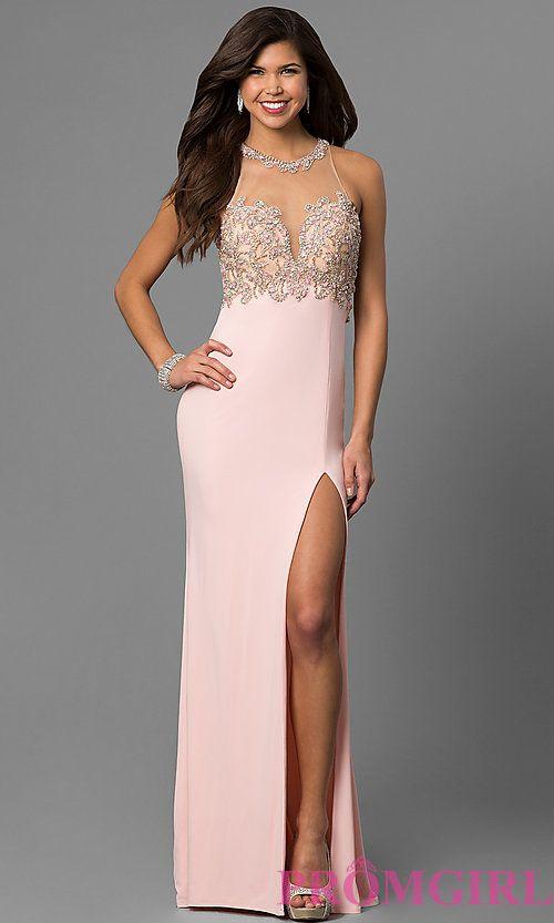 789209cba84 Jewel-Collar Long Prom Dress