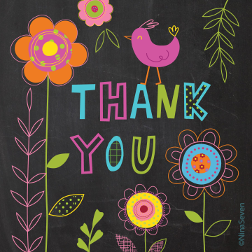 Thank you card by illustrator, Nina Seven