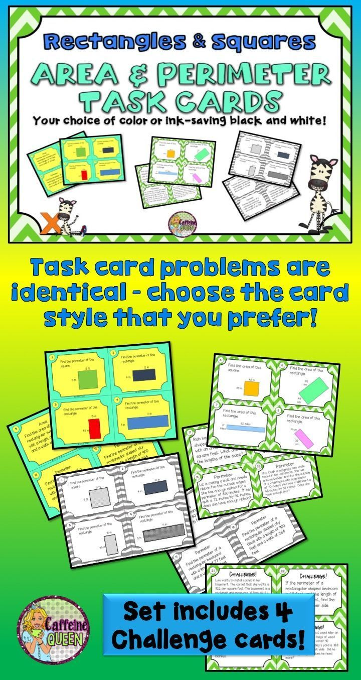 Area And Perimeter Of Rectangles Squares Task Card Set Comes In