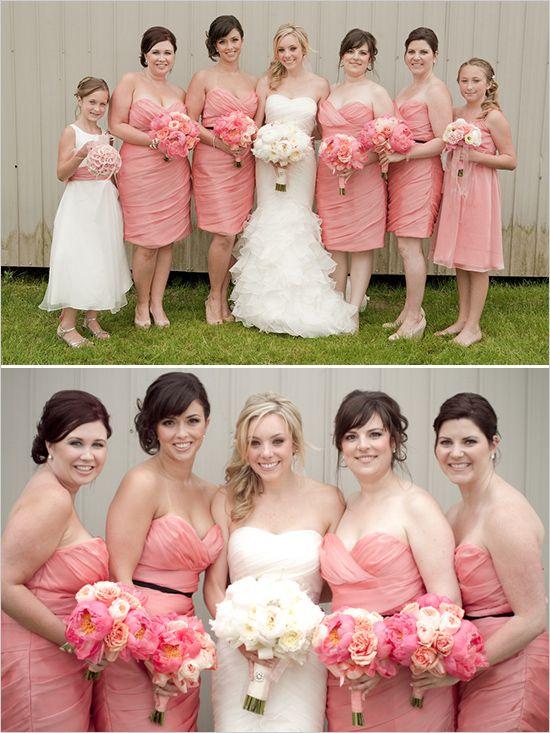 Brudepiger i ferskenfarvet