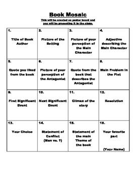 Book Mosaic Project FREEBIE This Is An Excellent Culminating Activity Or Summative Assessment For When Students Finish Reading Books