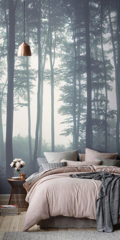 slaapkamer-fotobehang-bos-mist-woontrendz #slaapkamerideeen