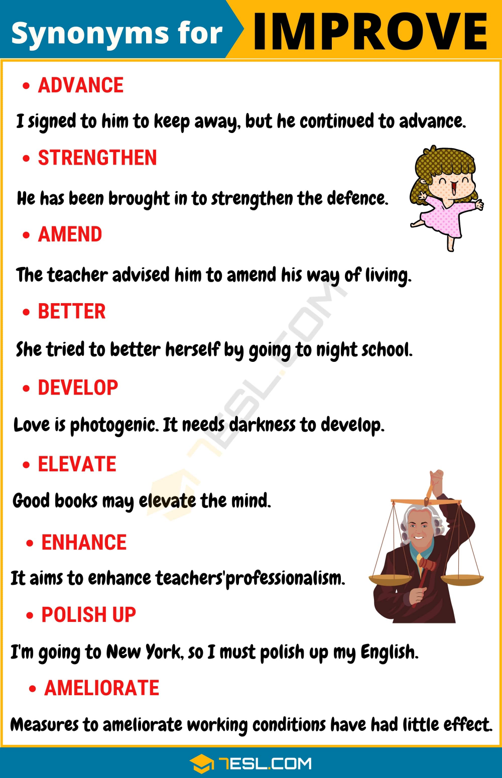 Another Word For Improve 100 Synonym With Useful Example 7esl English Vocab Good Vocabulary Learn Paraphrase Meaning Examples
