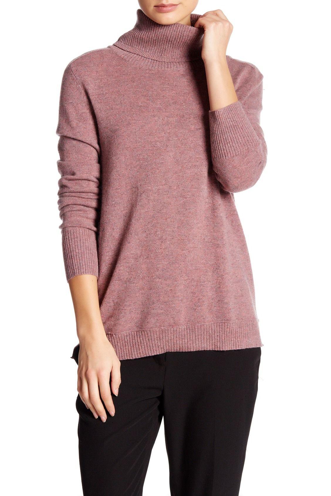 Rose colored Inhabit Turtleneck Long Sleeve Cashmere Sweater ...