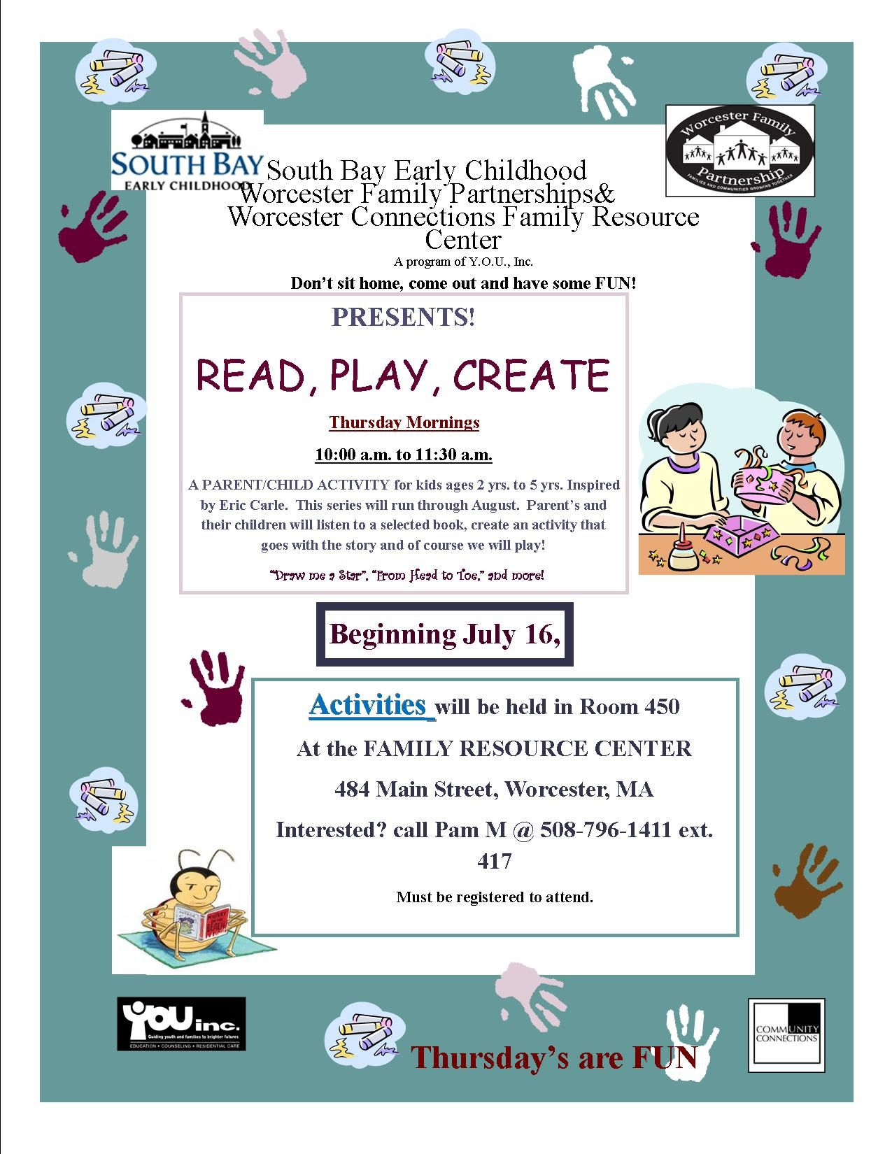 READ PLAY CREATE This Thursday! at the WCFRC of YOU, Inc