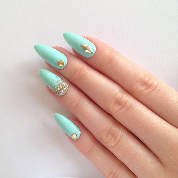 Mint stud & glitter stiletto nails Nail by prettylittlepolish ...