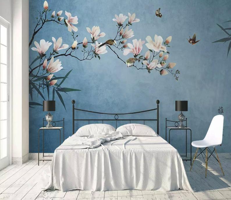 Floreale Carta Da Parati Vintage Fiore Parete Murale Magnolia Etsy Soggiorno Carta Da Parati Carta Da Parati Cineserie Poster D Epoca
