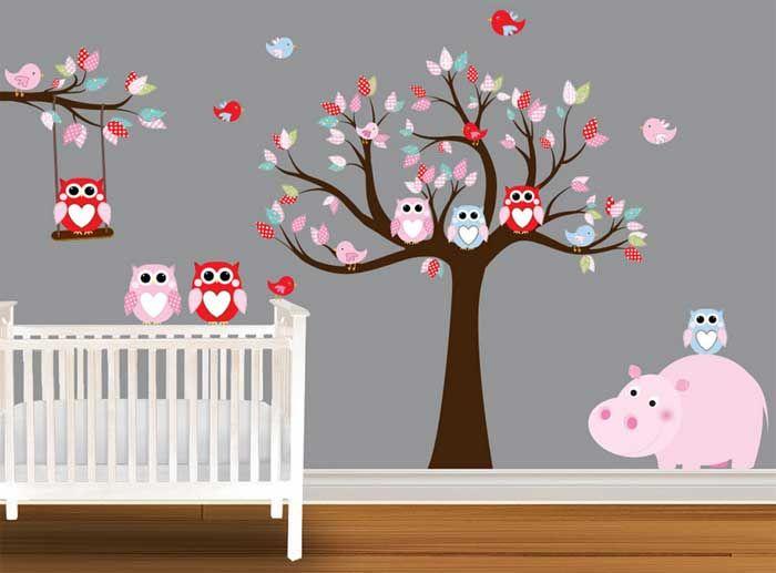 Wandtattoo Eule Kinderzimmer Und Mit Grauen Wand Farbe