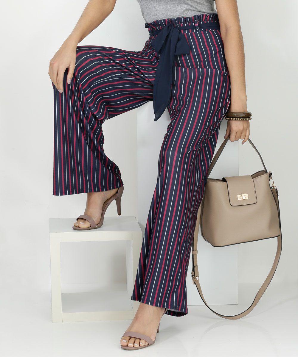 5d412c7052 Calça Feminina Pantalona Listrada Marisa