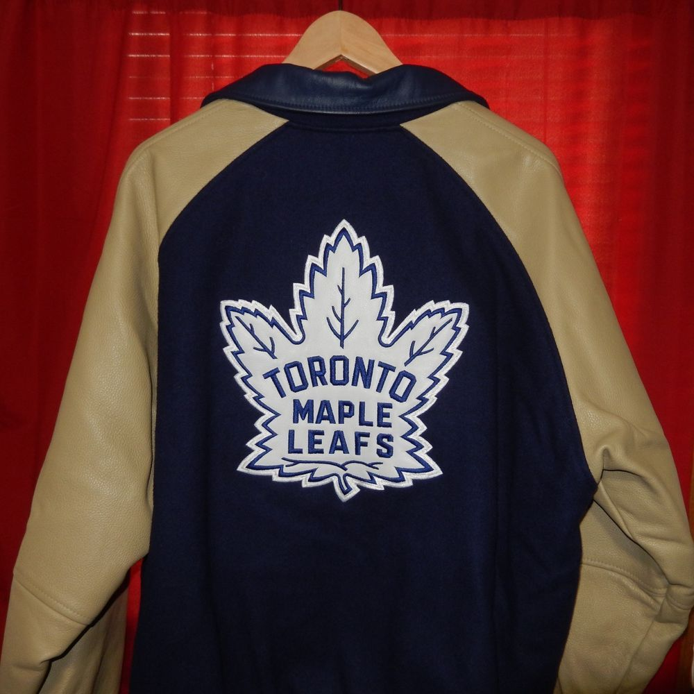 Vtg Nike Toronto Maple Leafs Varsity Jacket Wool Leather Made In Canada Nhl Rare
