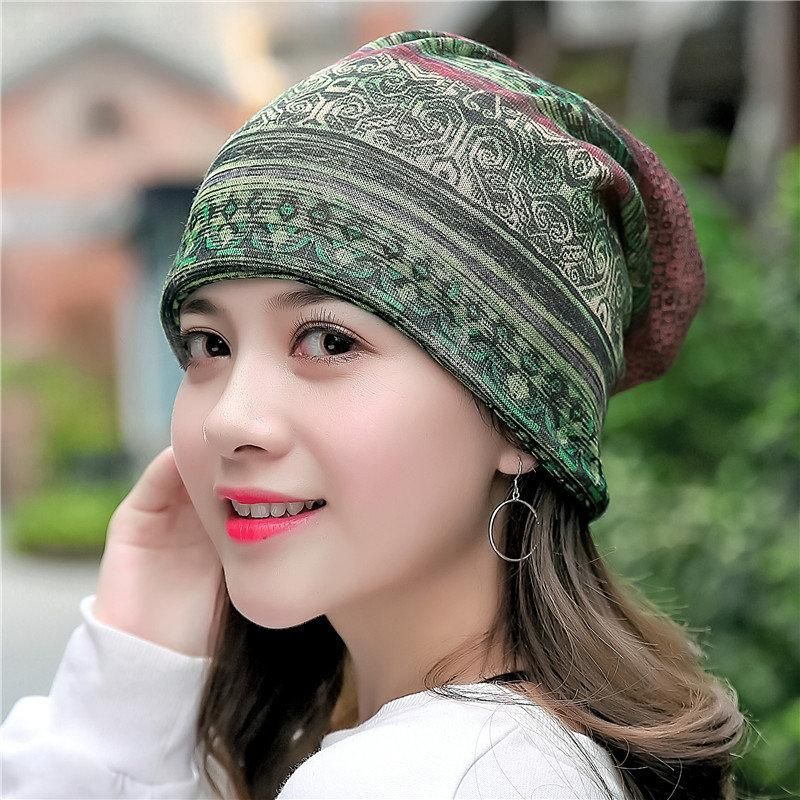 5ded5903e1d Womens Cotton Ponytail Beanie Hat Vintage Print Beanie Hats Outdoor For  Both Hats And Scarf Use