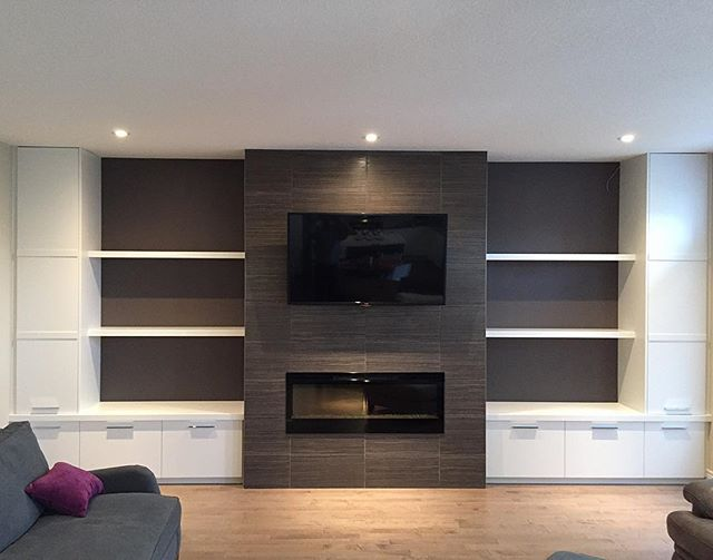 Enclosed Cabinets And Floating Shelves With Images Home Fireplace Living Room Tv Wall