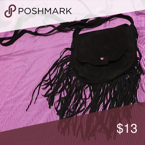 Black suede fringe crossbody bag Cute fringe suede like cross-body purse. Used once. Bags Crossbody Bags