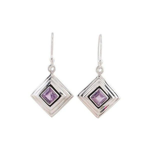 NOVICA Amethyst and Sterling Silver Modern Earrings from India ($45) ❤ liked on Polyvore featuring jewelry, earrings, amethyst, toplevelcatearrings, handcrafted sterling silver earrings, handcrafted jewelry, amethyst jewelry, purple amethyst earrings and dangle earrings
