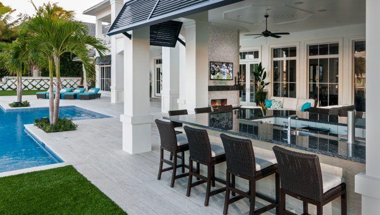 Travertine Tile Pool Deck Granite Bar Top Outdoor Kitchen Countertops Outdoor Kitchen Design Travertine Pool Decking