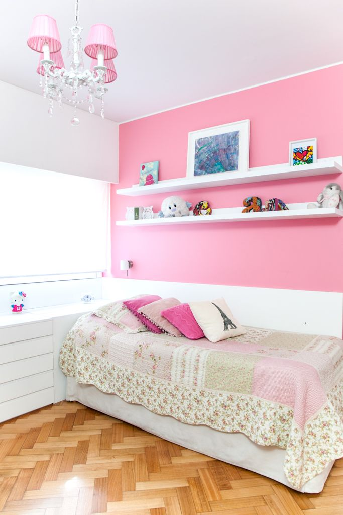 Habitaci n de una ni a rosa y blanco habitaciones - Habitacion juvenil nina ...