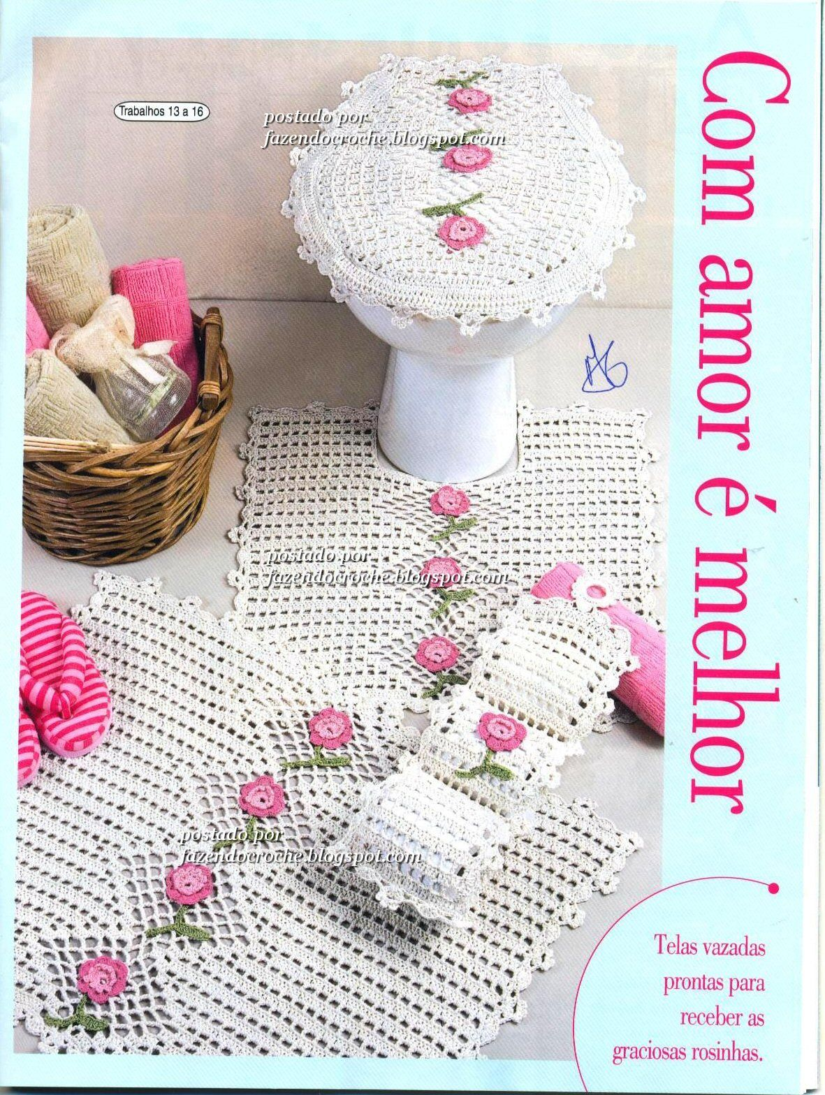 Crochet pink and white bathroom set ❤️LCB-MRS❤ with diagrams ...