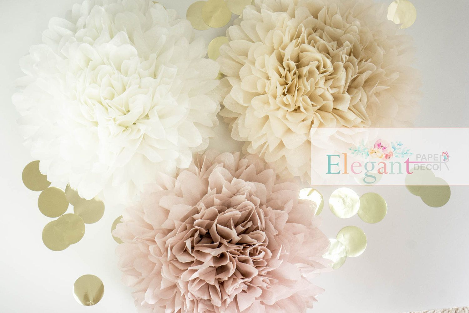 Dusty Pink Poms Paper Flower Flower Balls Wedding Decoration