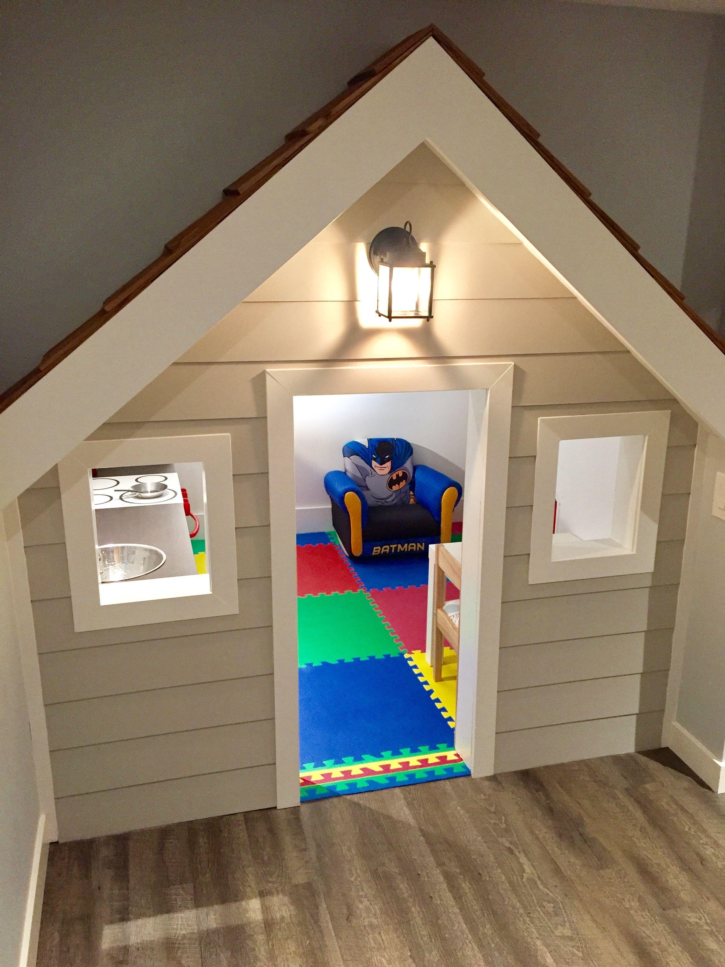 DIY playhouse built under stairs #indoorplayhouse | Inside ...